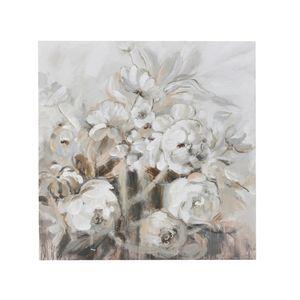 Tablou Canvas Flori albe 100x6x100 cm