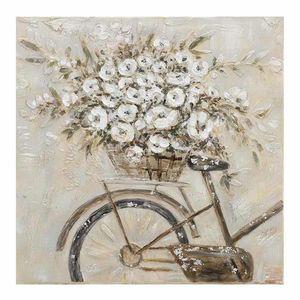 Tablou Canvas bicicleta cu flori albe 80x2x80cm
