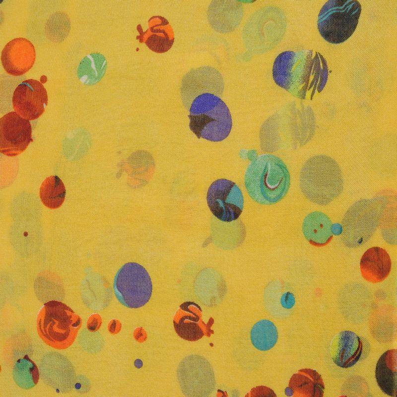 Esarfa-galbena-buline-colorate