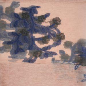 Esarfa roz cu flori bleumarin