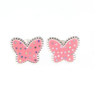 Cercei argint fluturi roz