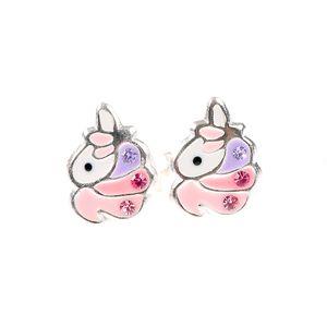 Cercei roz unicorn argint