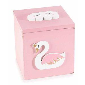 Cutie decorativa roz din lemn
