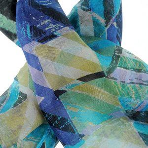 Esarfa din matase albastra cu imprimeu abstract
