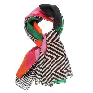 Esarfa din mastase  multicolora cu imprimeu