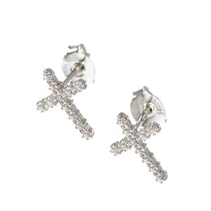 Cercei din argint in forma de cruce