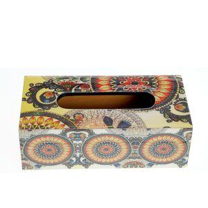 Cutie servetele  din lemn cu design fl;oral