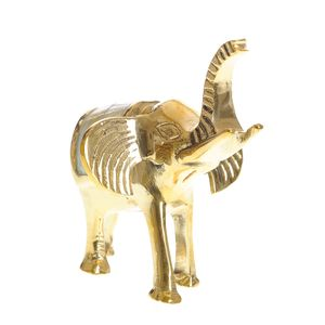 Statueta elefant din metal si sidef