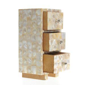 Cutie de bijuterii din lemn si sidef cu 3 sertare