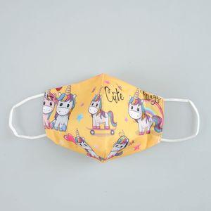 Masca texila pentru copii galbena cu unicorni