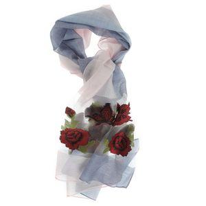 Esarfa cu flori rosii