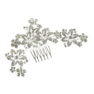 Pieptan argintiu model floral