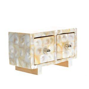 Cutie de bijuterii din lemn si sidef cu 2 compartimente
