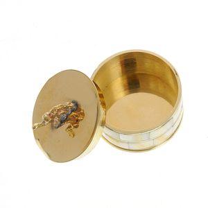 Cutie de bijuterii rotunda din metal si sidef