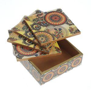 Suport pahare din lemn cu model mandala