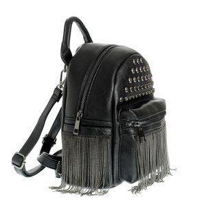 Rucsac negru cu tinte aplicate si lanturi decorative