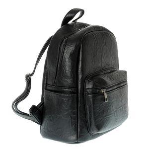 Rucasc negru din piele ecologica cu design sifonat