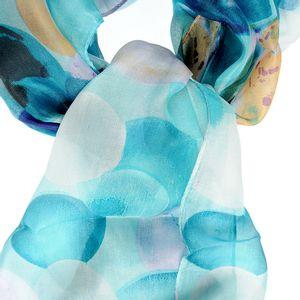Esarfa albastra din matase cu buline colorate