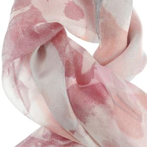 Esarfa patrata roz cu imprimeu floral