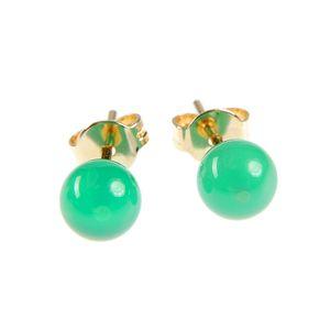 Cercei placati cu aur si perla verde