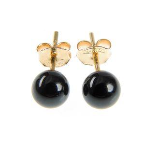 Cercei perla neagra placati cu aur