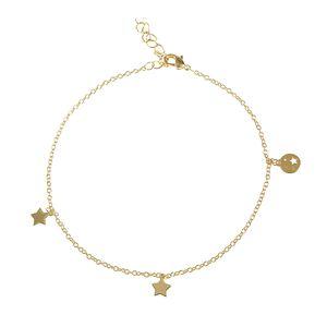 Bratara placata cu aur pandantive stele