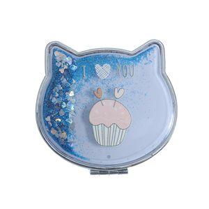 Oglinda dubla in forma de pisica cu sclipici albastru