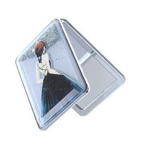 Oglindra dreptunghiulara pentru poseta cu sclipici gri