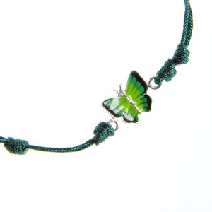 Bratara verde de argint pandantiv fluture