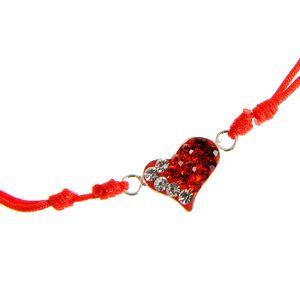 Bratara rosie din argint  pandantiv inima