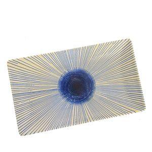 Farfurie dreptunghiulara cu dungi albastre 25 x 15cm