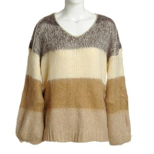 Pulover in nuante bej cu amestec de lana