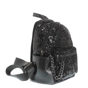 Rucsac negru cu paiete si un lant decorativ