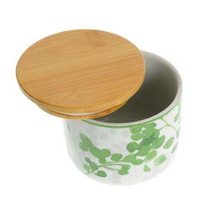 Borcan ceramic cu capac de bambus