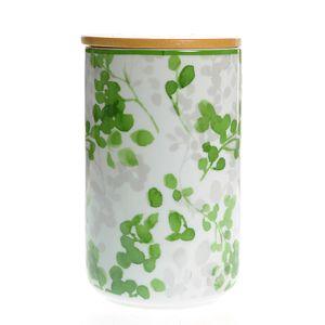 Borcan din ceramica cu frunze verzi