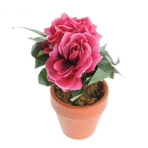 Ghiveci decorativ cu trandafiri rosii