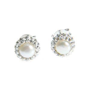 Cercei din argint cu perla acrilica alba