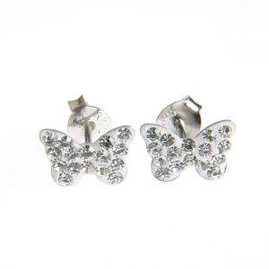 Cercei din argint cu fluture alb
