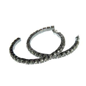 Cercei rotunzi cu perle acrilice negre