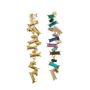 Cercei asimetrici multicolori cu pietre acrilice