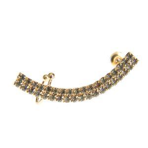 Cercel ear cuff auriu cu pietre acrilice negre