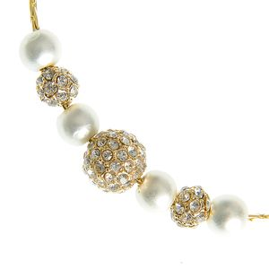 Colier auriu cu elemente rotunde si perle acrilice
