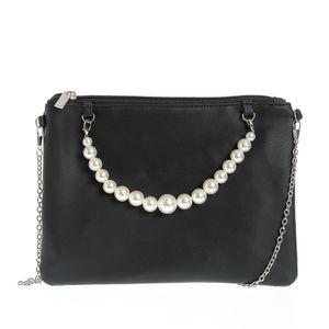 Geanta plic neagra cu perle acrilice
