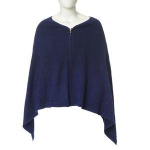 Poncho albastru cu adaos de lana