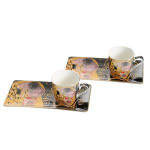 Set Gustav Klimt din ceramica cu 2 cesti si 2 farfurii