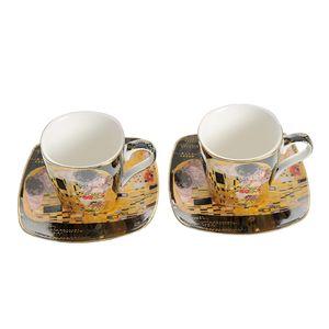 Set Gustav Klimt din ceramica cu 2 cesti si 2 farfurii patrate