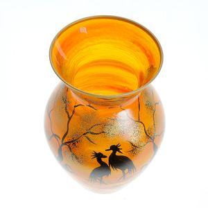Vaza portocalie din sticla