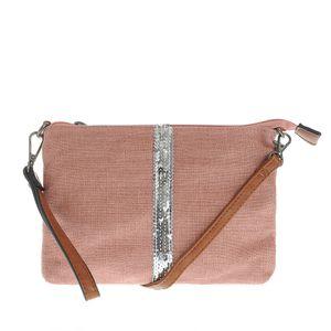 Geanta roz cu paiete argintii