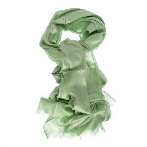 Esarfa verde crud cu franjuri