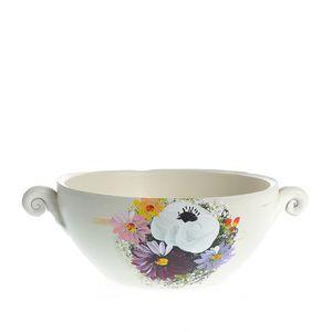 Vaza ceramica alba cu flori multicolore 8 cm